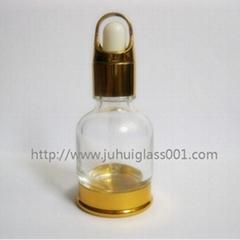 20ml带金色底座玻璃精油瓶精华液滴管瓶