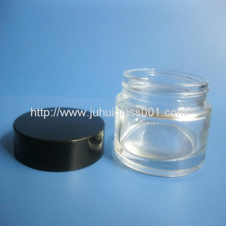 50G Glass Cream Jar With Black Plastic Cap 2