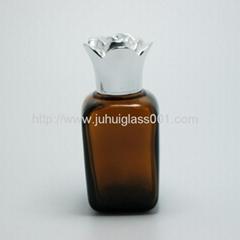 30ml茶色方形精油瓶配套电镀花盖