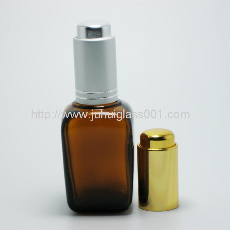 30ml茶色方形精油瓶配套电镀花盖 7