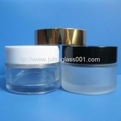 现货5g-100g玻璃膏霜瓶配塑料盖电化铝盖