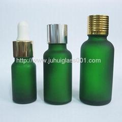 5ml-100ml綠色蒙砂玻璃精油瓶配套各種蓋子滴管