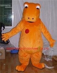 orange dino mascot costume