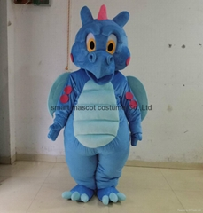 adult blue dinosaur mascot costume