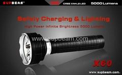Supbeam 5*Cree XM-L2 5000 lumens high power 700M LED flashlight -X60