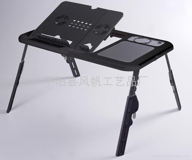 折叠多功能电脑桌 折叠电脑桌床上桌 双风扇折叠笔记本电脑桌  3
