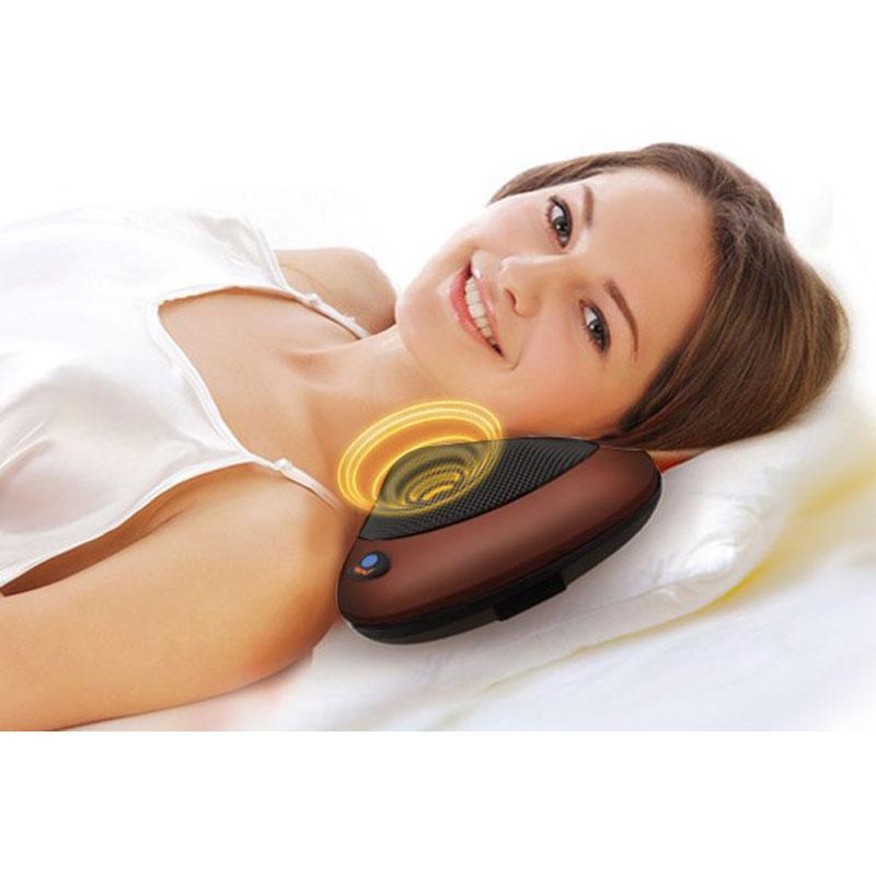 车载按摩枕 汽车电动颈椎按摩器 家用红外加热揉捏肩背按摩头枕 2