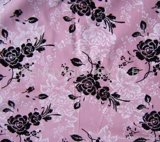 Dyed FDY knitted fabric with foiling and flocking 1