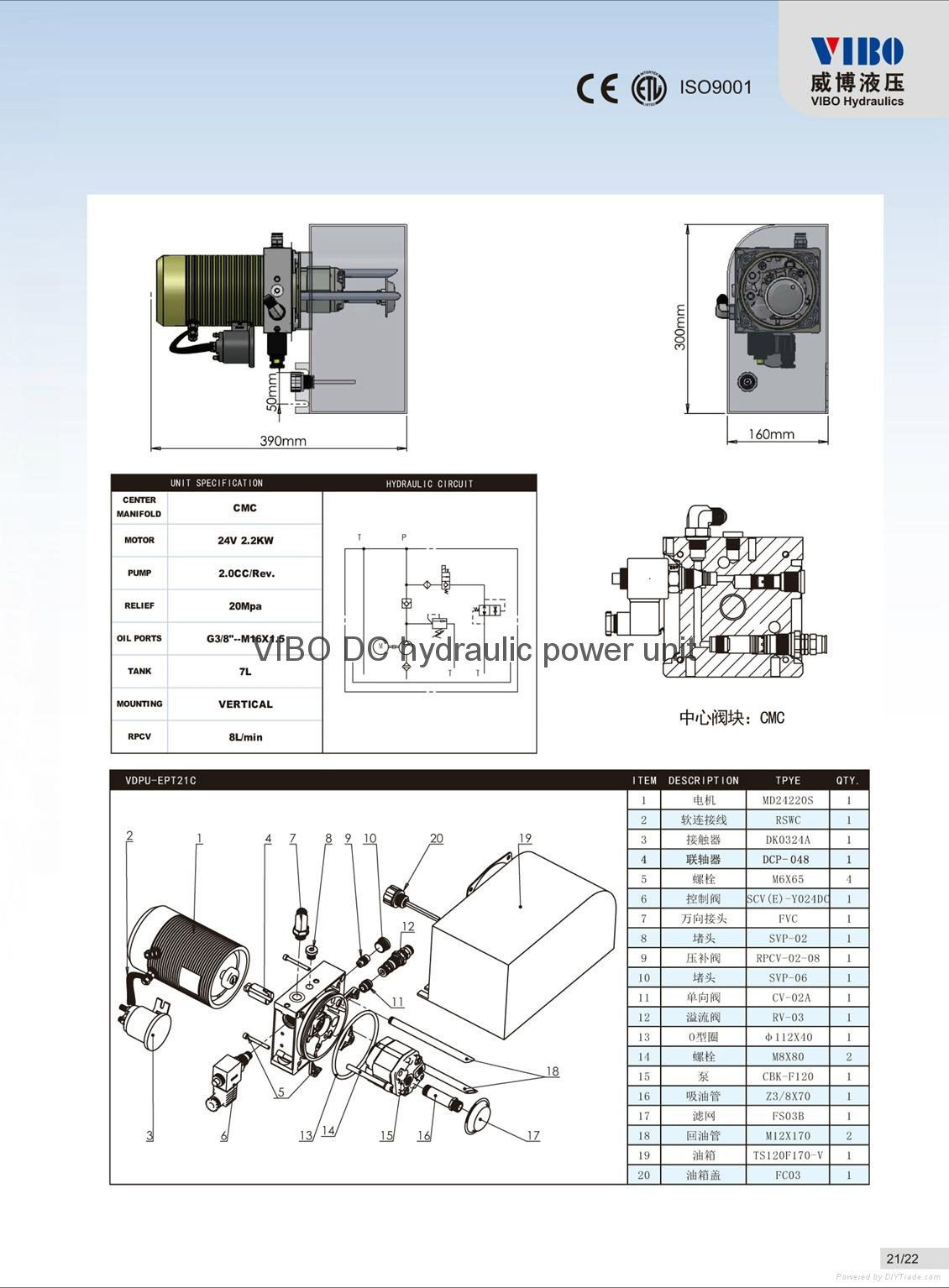 Hydraulic power unit for Electric Pallet truck 2