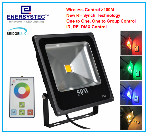 50W RGB LED Flood Lights RF Remote Control with synchronous,Memory, Dimmable 1