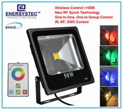 50W RGB LED Flood Lights RF Remote Control with synchronous,Memory, Dimmable