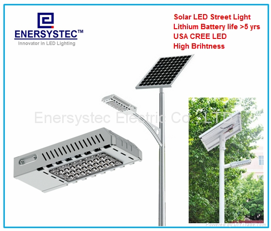 40W Solar LED Street Light IP65 With Lithium Battery Dusk to Dawn Auto ON OFF 1