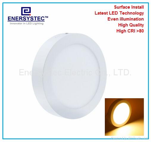 12W Round LED Panel Light 6 inch high brightness surface mount 1