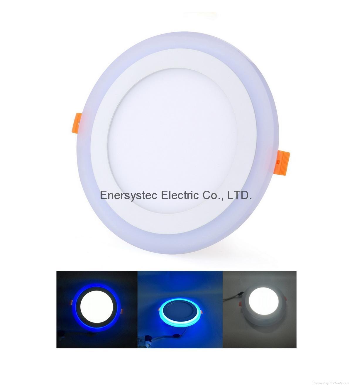 Double Color LED Panel Light, Dual Color White 12W+Blue 4W 1