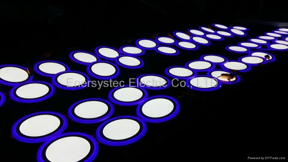 Double Color LED Panel Light, Dual Color White 12W+Blue 4W 13