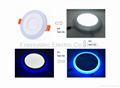 Double Color LED Panel Light, Dual Color White 12W+Blue 4W 10