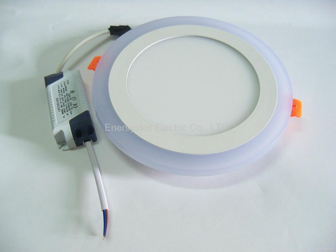 Double Color LED Panel Light, Dual Color White 12W+Blue 4W 8