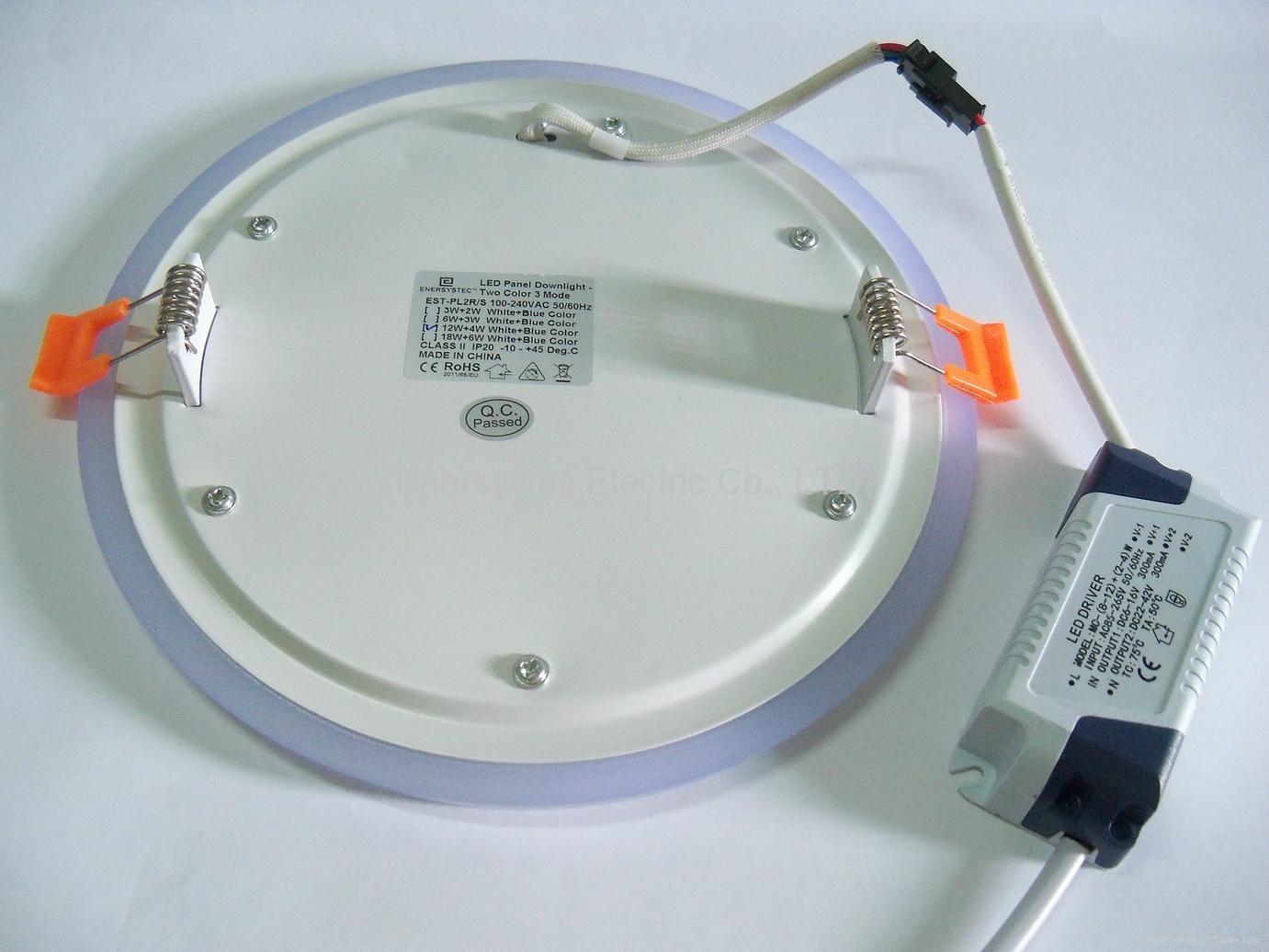 Double Color LED Panel Light, Dual Color White 12W+Blue 4W 7