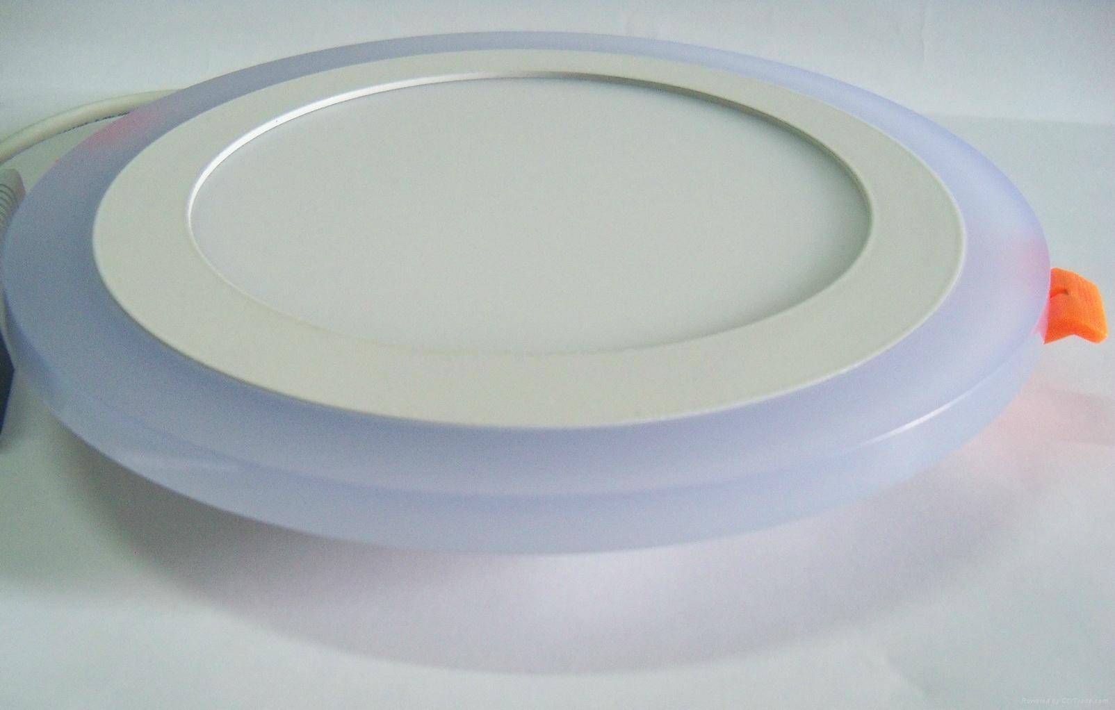 Double Color LED Panel Light, Dual Color White 12W+Blue 4W 6