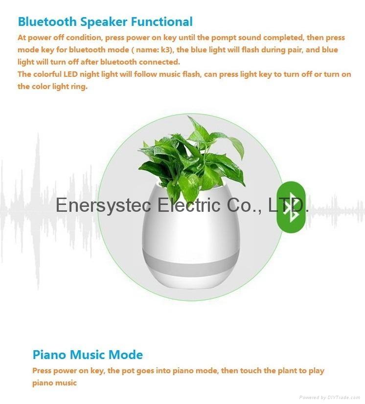 Music Plant Pot with Bluetooth Speaker LED Night Light Piano Music Flowerpots 4
