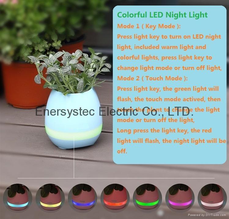 Music Plant Pot with Bluetooth Speaker LED Night Light Piano Music Flowerpots 5