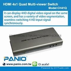 HDMI4進1出無縫切換器-內建4分割畫面