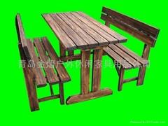 庭院戶外休閑實木長條桌椅