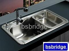 BSBRIDGE不鏽鋼一體拉伸廚房水槽SC8349子母槽