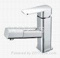 Single Lever Brass Basin Mixer Faucet  with Pull-out Shower  BSBRIDGE M015B01 2