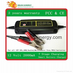 12V2000mA Automatic Lead acid battery charger 7 stages