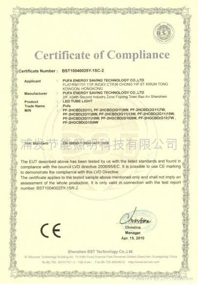 CE EMC Certificate LED 2G11/2G10