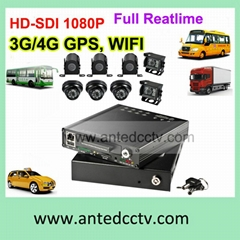 HDD Mobile DVR 8 Channel Full HD 1080p 3G Vehicle DVR systems for buses cars