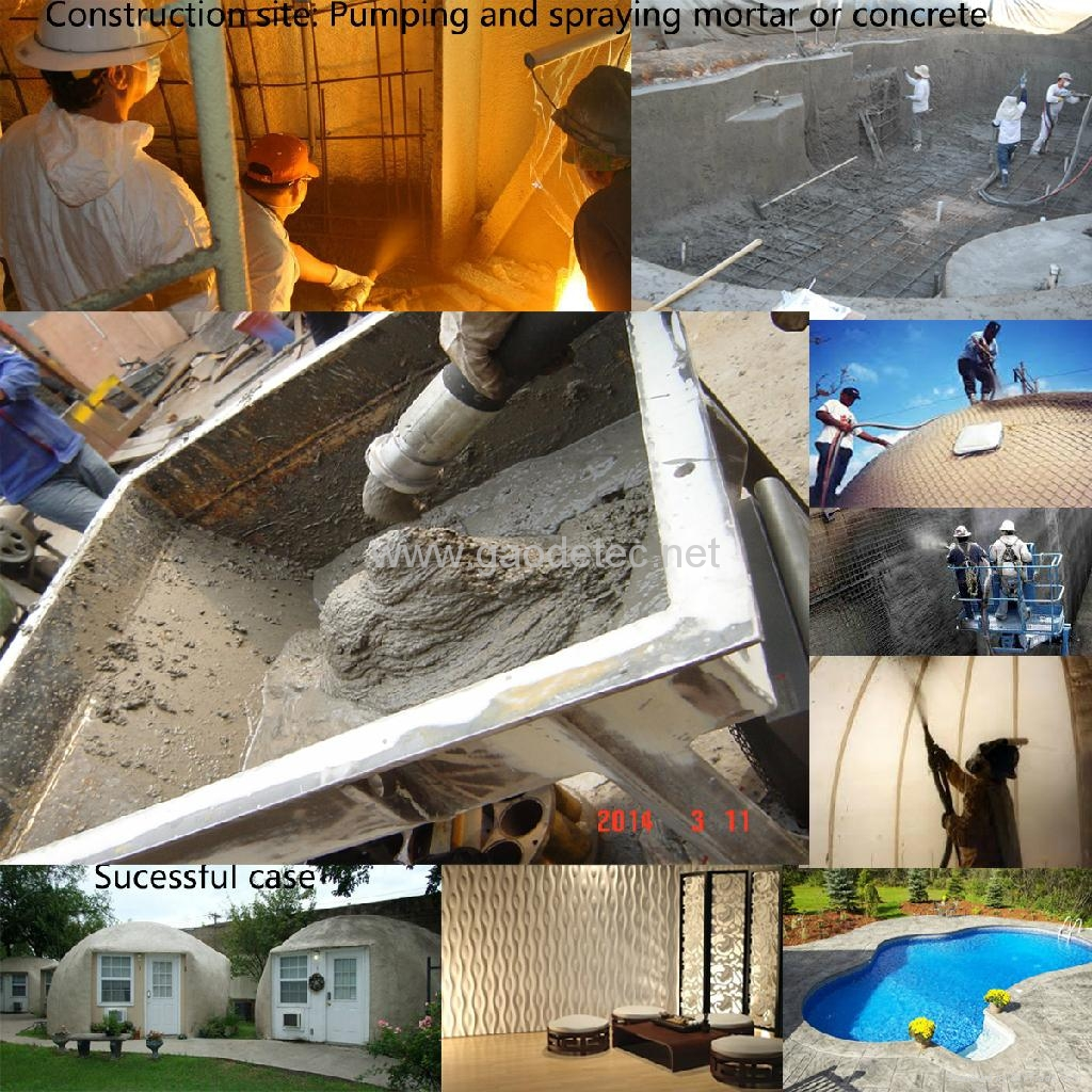 Spraying wet concrete for different projects