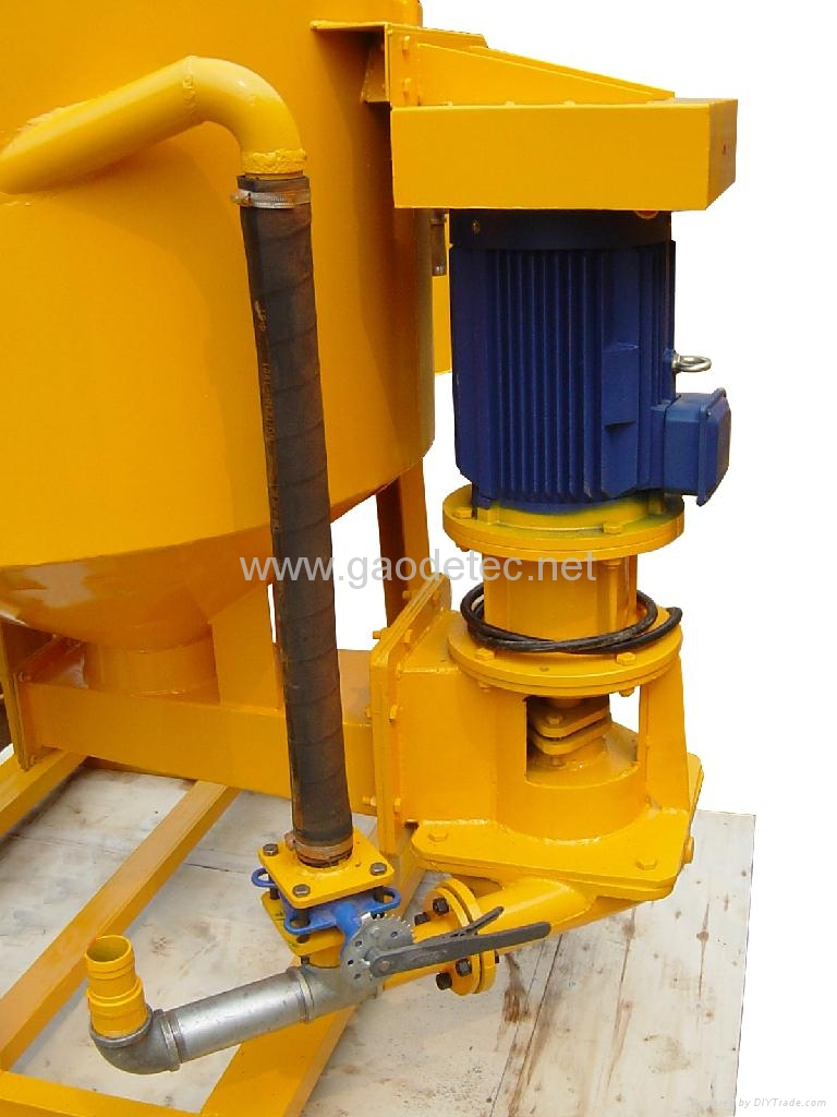 different part and angles of grout mixer and agitator