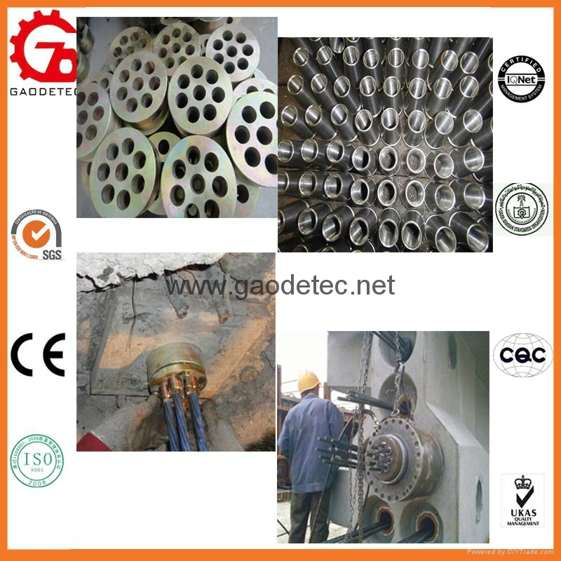 prestressed concrete tension anchor head and wedges