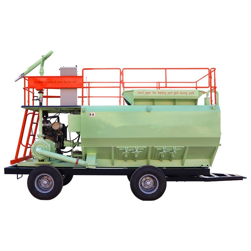 Soil spraying seeder