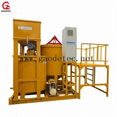 Large output grout turbo mixer and agitator