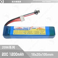 水彈玩具發射器電池602096 9.6V 1200mAh 20C磷酸鐵鋰電池