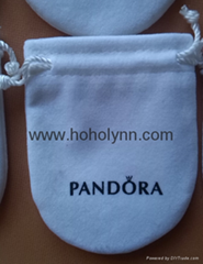 Pandora velvet pouch 10x8cm (large, white) old version