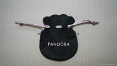 Pandora suede pouch 9x7cm (black, pink string)