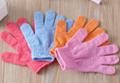 Colorful nylon bath glove for shower, spa bath glove