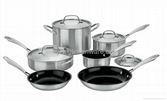 Gourmet Tri-ply Stainless Steel 10-Piece Cookware Set