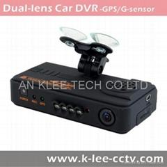 Dual Lens Dash Cam with 720p GPS G-sensor