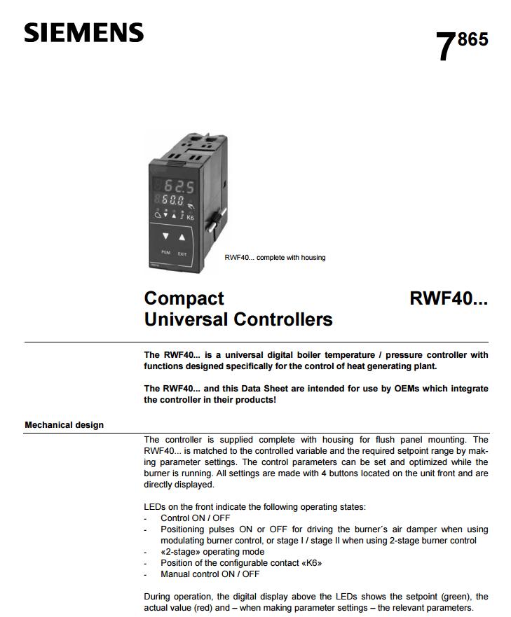 SIEMENS Universal Burner Controller RWF40. 2