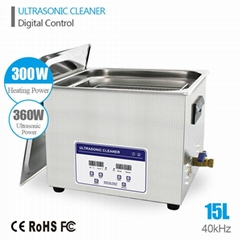 Professional Digital Ultrasonic Cleaner Bath with 15L 360W 40kHz Heating Baskets
