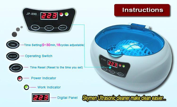 Jewelry denture eyeglass ultrasonc cleaner 600ml LED display  3