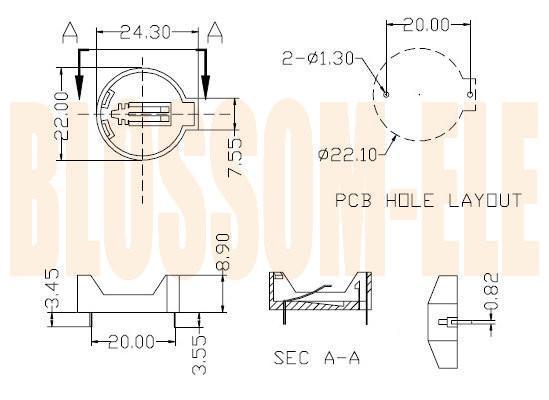 鈕扣電池座(CR2032-2-1) 2