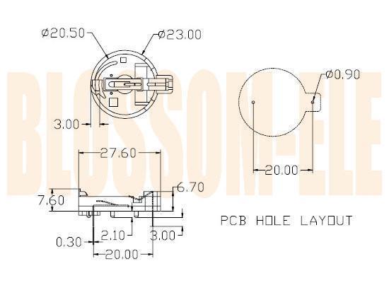钮扣电池座(CR2032-4-1) 2