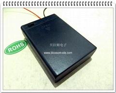 三節五號帶蓋帶開關安全電池盒(開關蓋子同側)