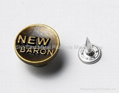 Single prong jean button